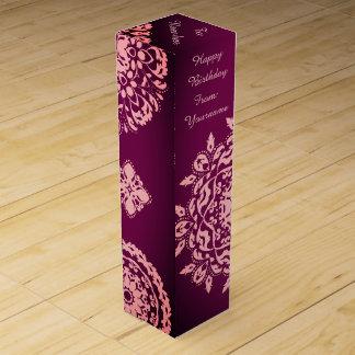 Purple pink birthday wine gift box