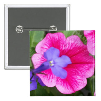 Purple & Pink Blossoms 2 Inch Square Button