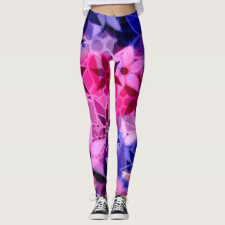 Purple Pink Blue Floral Leggings