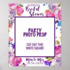 Purple Pink & Blue Flower Bridal Shower Photo Prop Poster