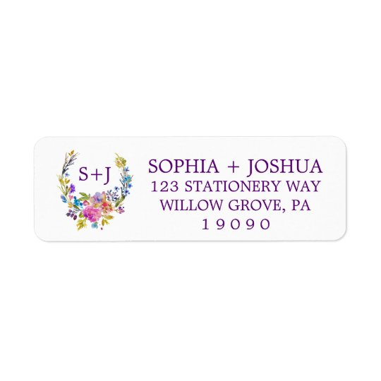 Purple Pink & Blue Monogram Floral Wreath Wedding Return Address Label