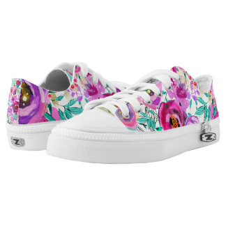 Purple Pink Bright Colorful Bold Modern Floral Low Tops