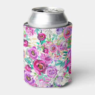 Purple Pink Bright Colorful Modern Floral Pattern Can Cooler
