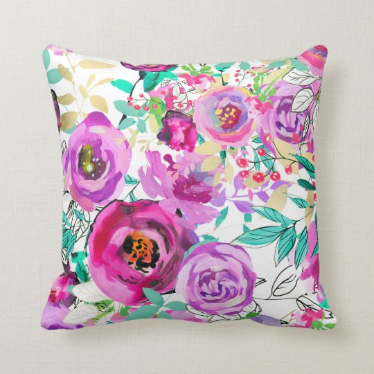 Purple Pink Bright Colourful Modern Floral Pattern Cushion