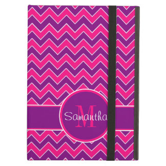 Purple & Pink Chevron Pattern Custom Monogram iPad Air Case