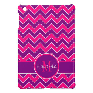 Purple & Pink Chevron Pattern Custom Monogram iPad Mini Cases