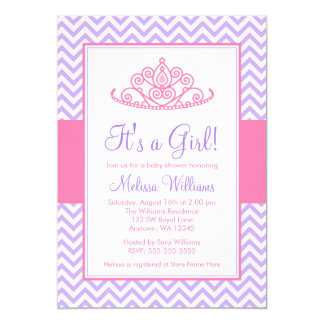 Purple Pink Chevron Princess Crown Baby Shower 5x7 Paper Invitation Card