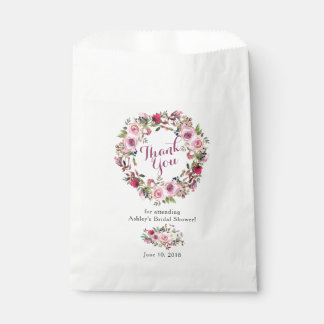 Purple Pink Chic Rose Bridal Shower Thank You Favour Bags