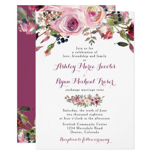 Purple Pink Chic Rose Floral Wedding Invitation