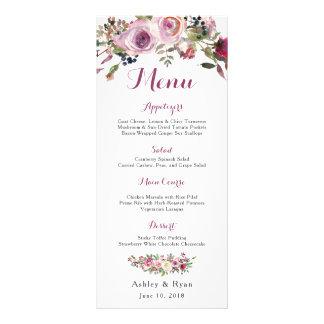 Purple Pink Chic Rose Floral Wedding Menu