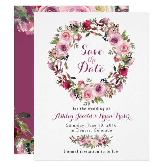 Purple Pink Chic Rose Floral Wedding Save the
