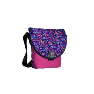 purple pink circles messenger bag