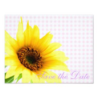 Purple Pink Country Sunflower Bride Floral Pattern 4.25x5.5 Paper Invitation Card
