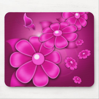 Purple Pink Daisies Floral Graphic Art Mousepad