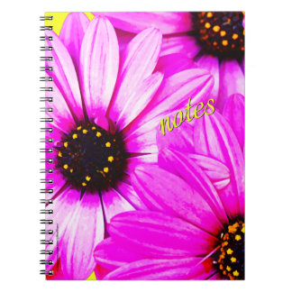 Purple/Pink Daisies, notes - Spiral Notebook