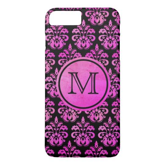 Purple pink damask monogrammed beautiful iPhone 8 plus/7 plus case