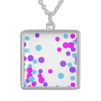 Purple Pink Elegent Circle Silver Square Necklace