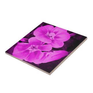 Purple Pink Floral Ceramic Tile