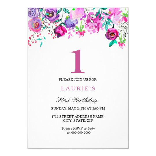 Purple Pink Floral Girl 1st Birthday Invitation