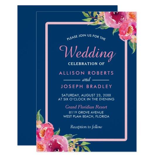 Purple Pink Floral Navy Blue Wedding Celebration Card