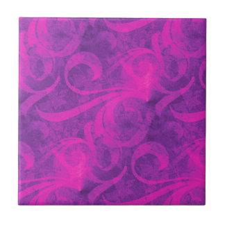 Purple Pink Floral Swirl Flourish Girly Pattern Ceramic Tiles