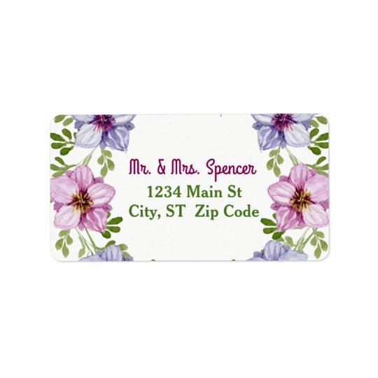 Purple Pink Floral Wreath Wedding Address Label