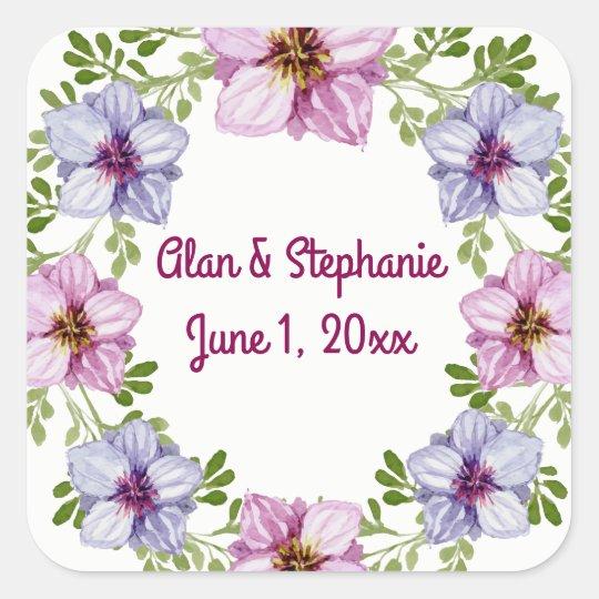 Purple Pink Floral Wreath Wedding Stickers