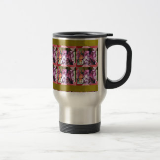 Purple Pink Flower pattern Elegant Gifts Occasions Stainless Steel Travel Mug