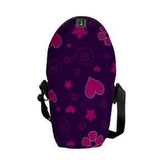 Purple pink flowers hearts stars swirls courier bags