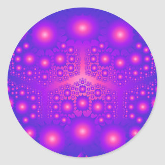 Purple & Pink Fractal Explosions: Classic Round Sticker