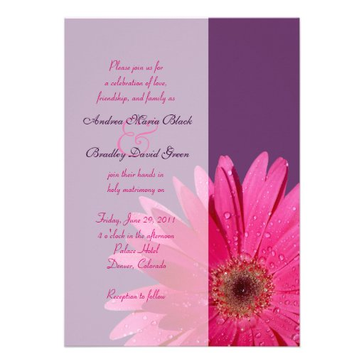 Purple Pink Gerbera Daisy Wedding Invitation