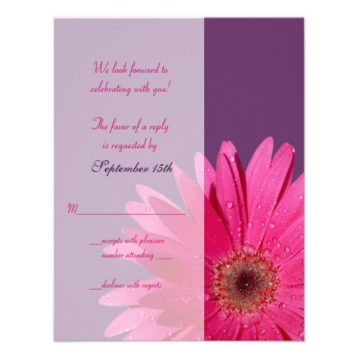 Purple & Pink Gerbera Daisy Wedding Reply Card Personalized Announcement