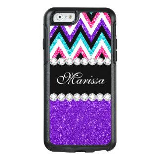 Purple Pink Glitter Aqua Blue Black White Chevrons OtterBox iPhone 6/6s Case