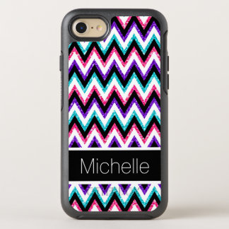 Purple Pink Glitter Black White Chevrons Stripe OtterBox Symmetry iPhone 8/7 Case