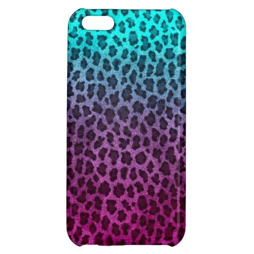 Purple Pink Green Cheetah Print iPhone 5C Covers