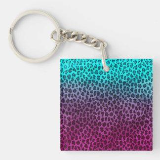 Purple Pink Green Cheetah Print Key Ring