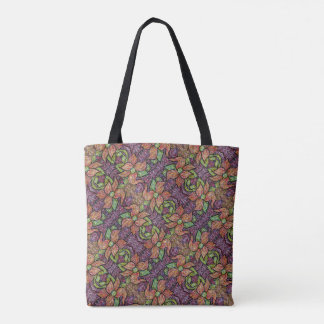 Purple Pink Green Floral Pattern Tote Bag