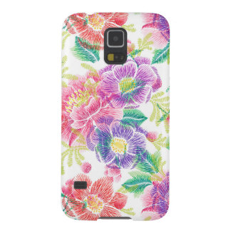 Purple Pink & Green Flowers Pattern D3 Cases For Galaxy S5