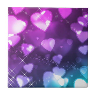 Purple Pink Hearts Tile