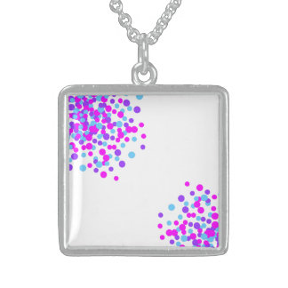 Purple Pink Lovely Circle Silver Square Necklace