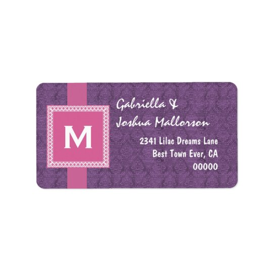 Purple Pink Monogram Square Frame and Ribbon M510 Address Label