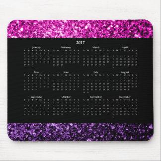 Purple Pink Ombre glitter sparkles Calendar 2017 Mouse Pad