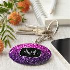 Purple Pink Ombre glitter sparkles Monogram Key Ring