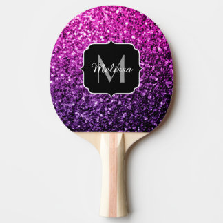 Purple Pink Ombre glitter sparkles Monogram Ping Pong Paddle