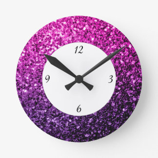 Purple Pink Ombre glitter sparkles with numbers Round Clock
