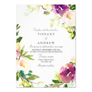 Purple Pink Peach Floral Watercolor Wedding Invite