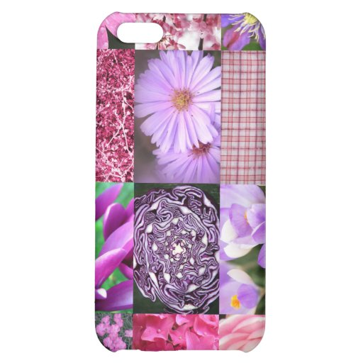 Purple / Pink Photo Collage Case For iPhone 5C