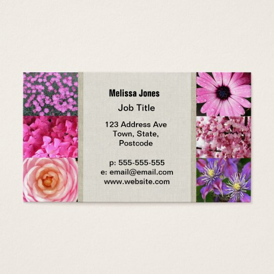 Purple Pink Photography Collage Business Card