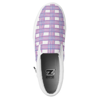 purple pink plaid shoes printed shoes
