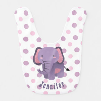Purple Pink Polkadot Elephant Bibs